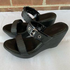 Like new Nine West black slide wedge sandals